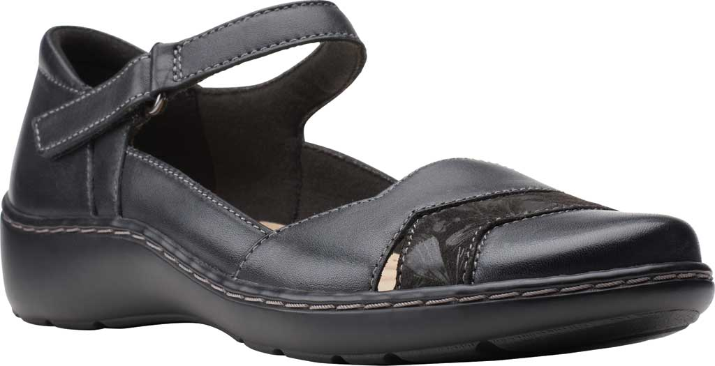 Women's Clarks Cora Abby Mary Jane, Black Leather/Synthetic Combination, large, image 1