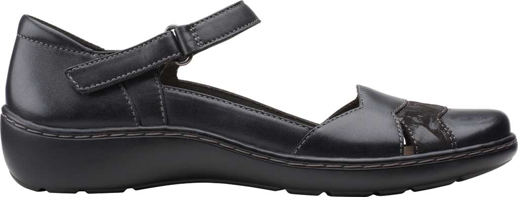 Women's Clarks Cora Abby Mary Jane, Black Leather/Synthetic Combination, large, image 2