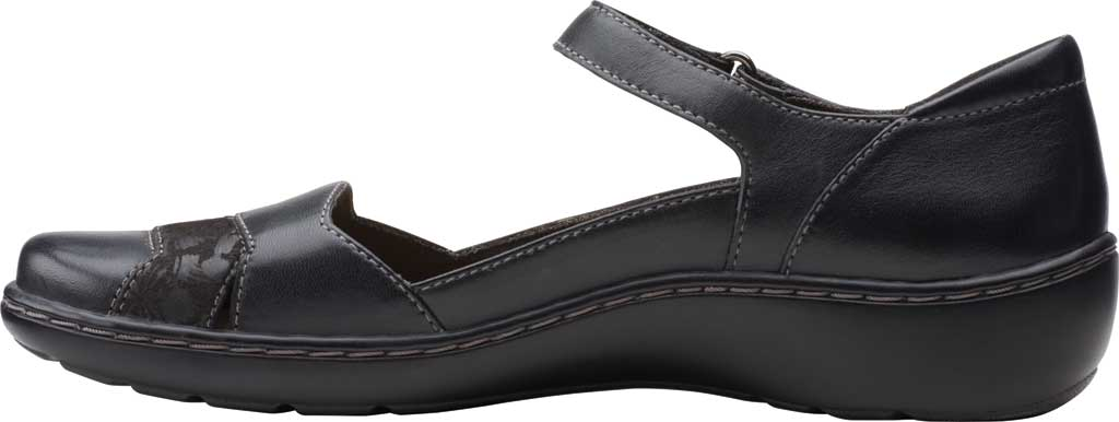 Women's Clarks Cora Abby Mary Jane, Black Leather/Synthetic Combination, large, image 3