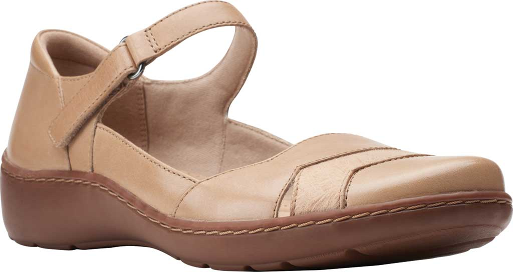 Women's Clarks Cora Abby Mary Jane, Sand Combination Synthetic/Leather, large, image 1