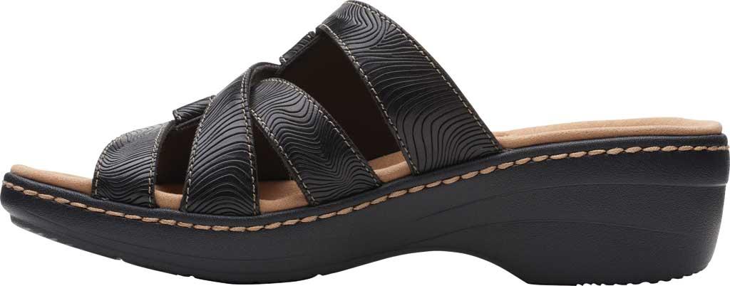 Women's Clarks Merliah Karli Wedge Slide, Black Leather, large, image 3
