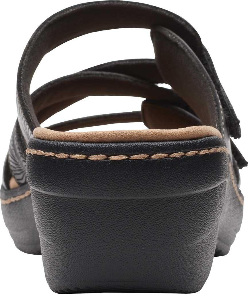 Women's Clarks Merliah Karli Wedge Slide, Black Leather, large, image 4