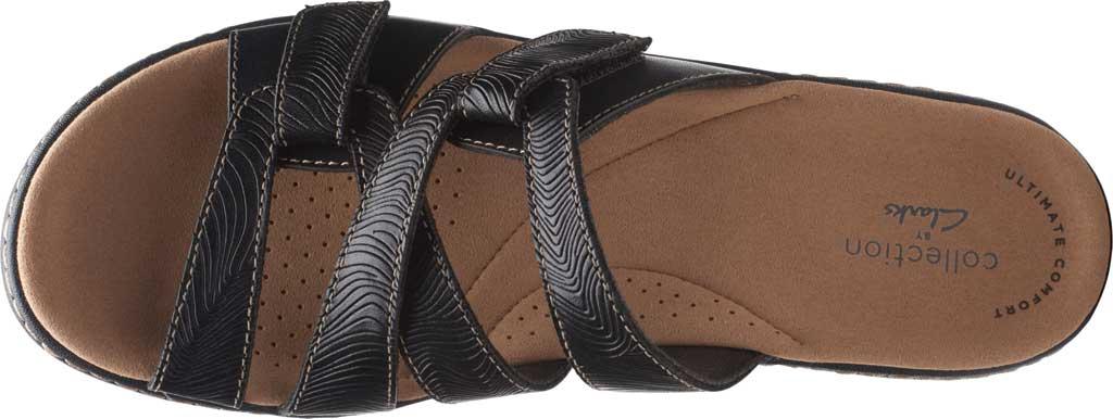 Women's Clarks Merliah Karli Wedge Slide, Black Leather, large, image 5