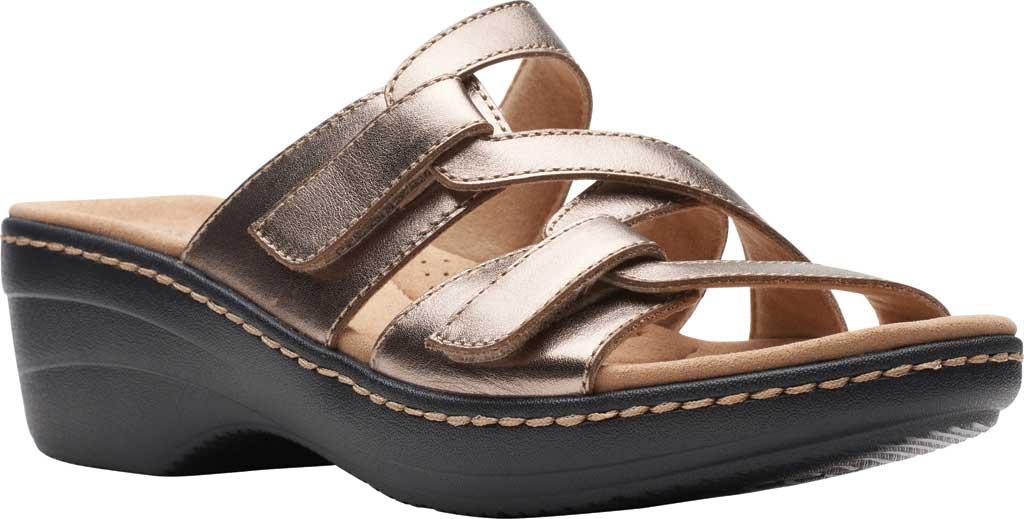 Women's Clarks Merliah Karli Wedge Slide, Metallic Leather, large, image 1
