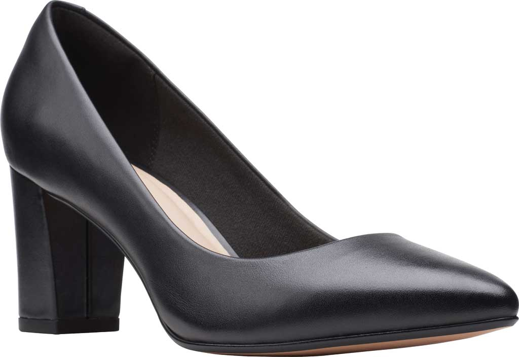 Women's Clarks Aubrie Sun Pointed Toe Pump, Black Leather, large, image 1