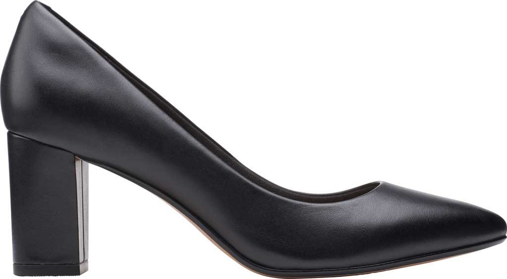 Women's Clarks Aubrie Sun Pointed Toe Pump, Black Leather, large, image 2