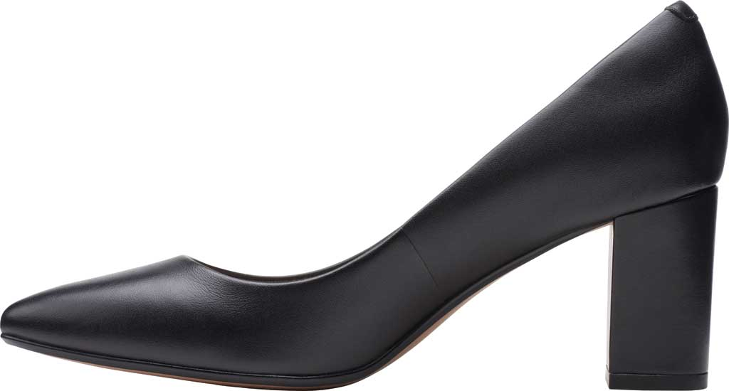 Women's Clarks Aubrie Sun Pointed Toe Pump, Black Leather, large, image 3