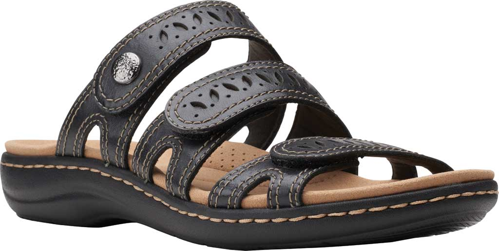 Women's Clarks Laurieann Dee Strappy Slide, Black Leather, large, image 1