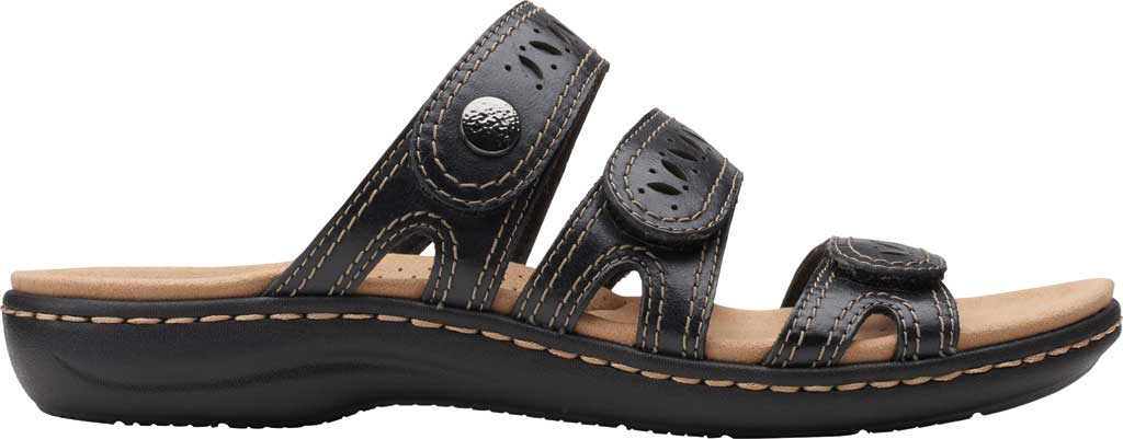 Women's Clarks Laurieann Dee Strappy Slide, Black Leather, large, image 2