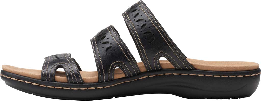 Women's Clarks Laurieann Dee Strappy Slide, Black Leather, large, image 3