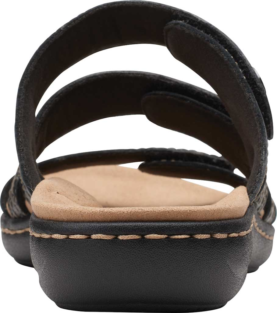 Women's Clarks Laurieann Dee Strappy Slide, Black Leather, large, image 4