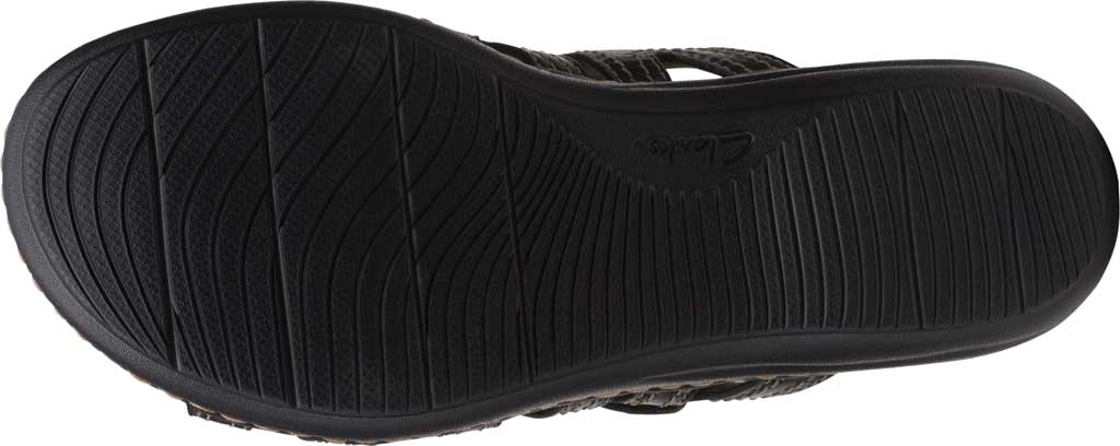 Women's Clarks Laurieann Dee Strappy Slide, Black Leather, large, image 6