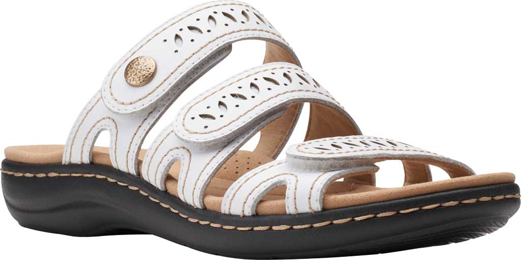 Women's Clarks Laurieann Dee Strappy Slide, White Leather, large, image 1