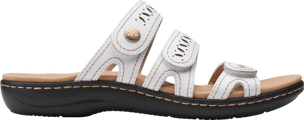 Women's Clarks Laurieann Dee Strappy Slide, White Leather, large, image 2