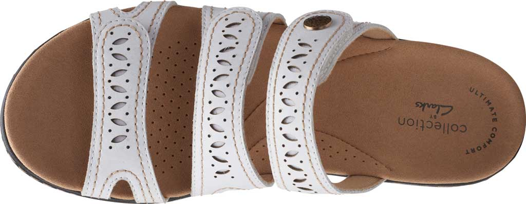 Women's Clarks Laurieann Dee Strappy Slide, White Leather, large, image 5