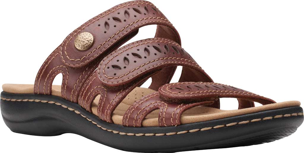 Women's Clarks Laurieann Dee Strappy Slide, Mahogany Leather, large, image 1