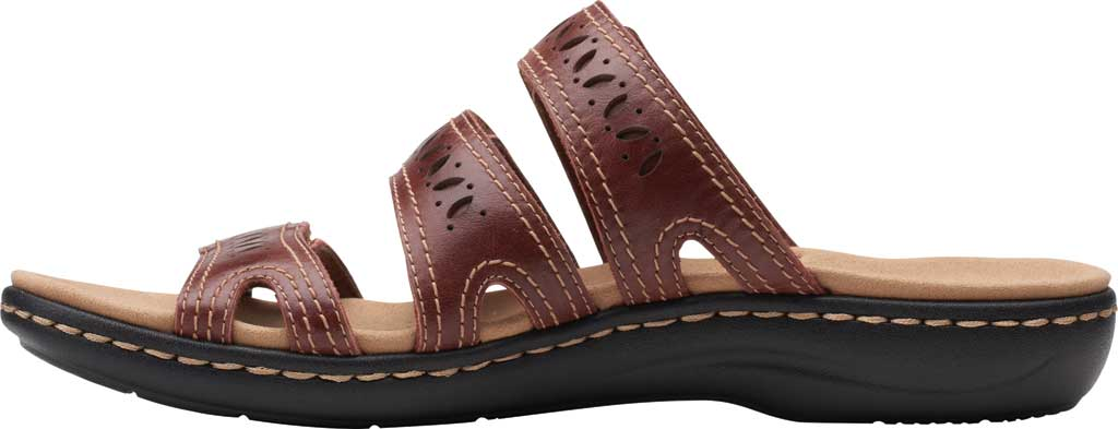 Women's Clarks Laurieann Dee Strappy Slide, Mahogany Leather, large, image 3