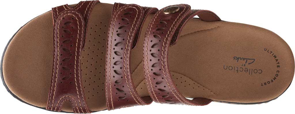 Women's Clarks Laurieann Dee Strappy Slide, Mahogany Leather, large, image 5