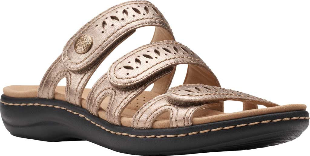 Women's Clarks Laurieann Dee Strappy Slide, Metallic Leather, large, image 1