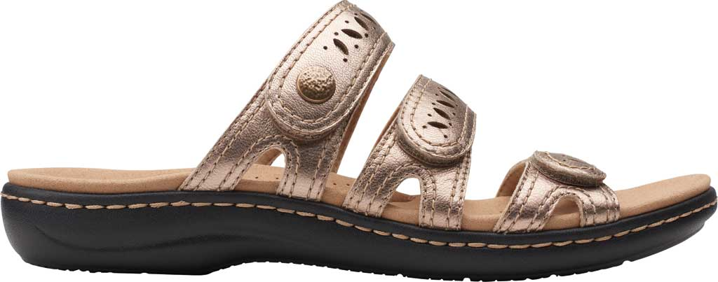 Women's Clarks Laurieann Dee Strappy Slide, Metallic Leather, large, image 2