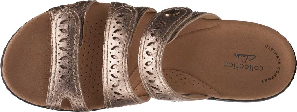 Women's Clarks Laurieann Dee Strappy Slide, Metallic Leather, large, image 5