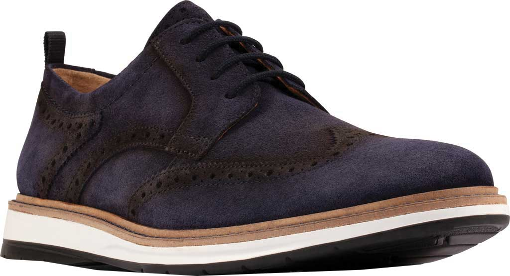 Men's Clarks Chantry Wing Tip Oxford, Navy Suede, large, image 1
