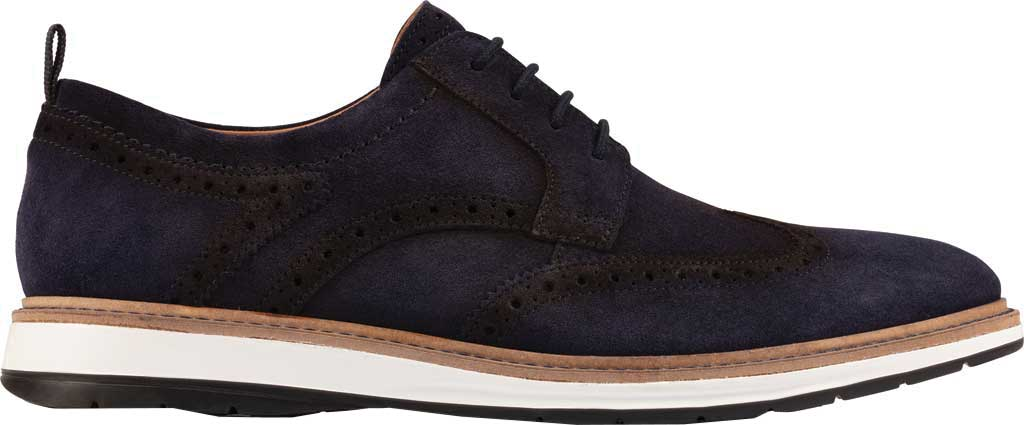 Men's Clarks Chantry Wing Tip Oxford, Navy Suede, large, image 2