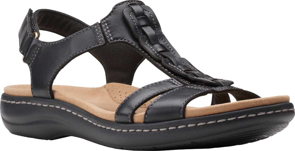 Women's Clarks Laurieann Kay Strappy Slingback Sandal, Black Leather, large, image 1