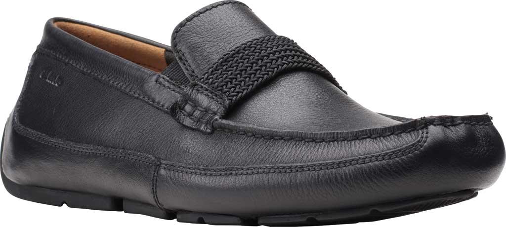 Men's Clarks Markman Brace Moc Toe Loafer, Black Leather, large, image 1