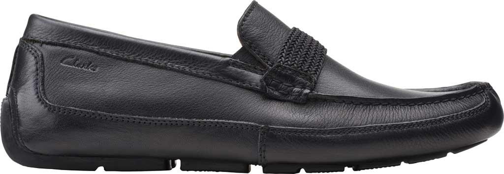 Men's Clarks Markman Brace Moc Toe Loafer, Black Leather, large, image 2