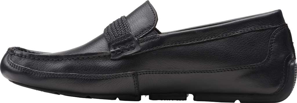 Men's Clarks Markman Brace Moc Toe Loafer, Black Leather, large, image 3