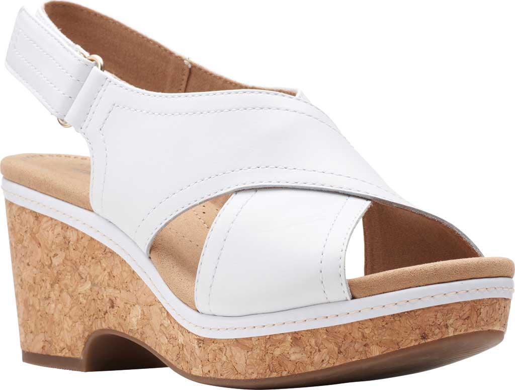 Women's Clarks Giselle Cove Wedge Slingback Sandal, White Leather, large, image 1