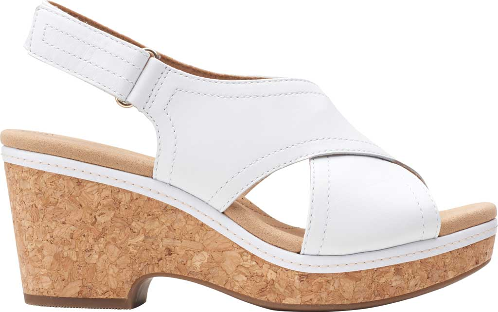 Women's Clarks Giselle Cove Wedge Slingback Sandal, White Leather, large, image 2