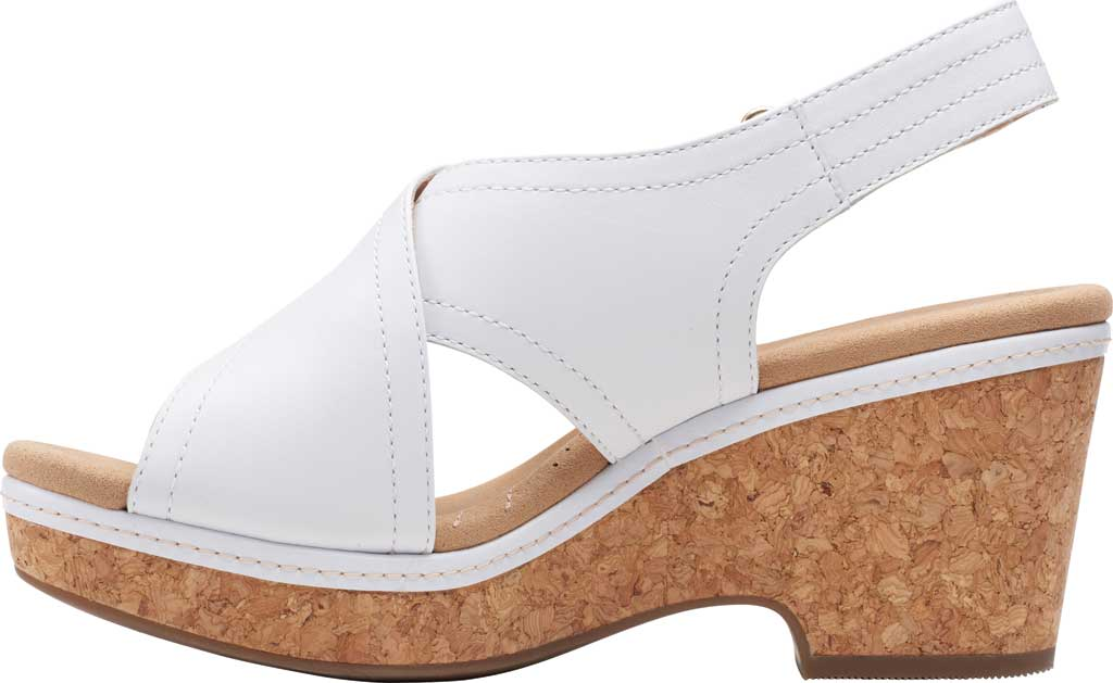 Women's Clarks Giselle Cove Wedge Slingback Sandal, White Leather, large, image 3