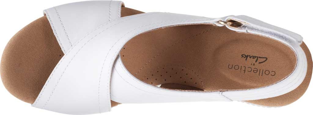 Women's Clarks Giselle Cove Wedge Slingback Sandal, White Leather, large, image 5