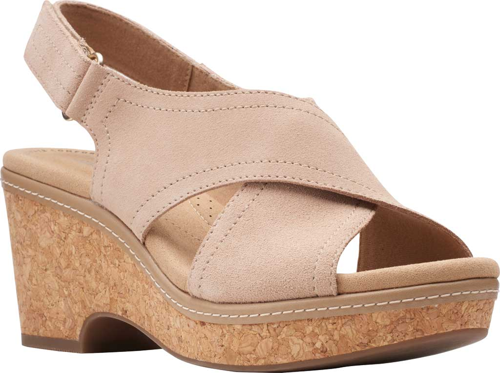 Women's Clarks Giselle Cove Wedge Slingback Sandal, Sand Suede, large, image 1