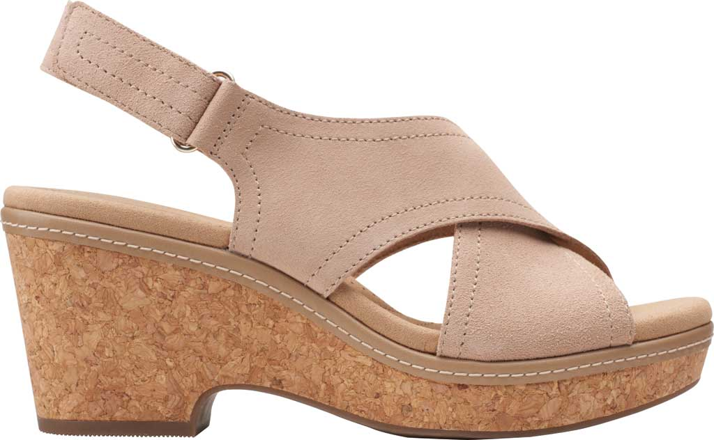 Women's Clarks Giselle Cove Wedge Slingback Sandal, Sand Suede, large, image 2