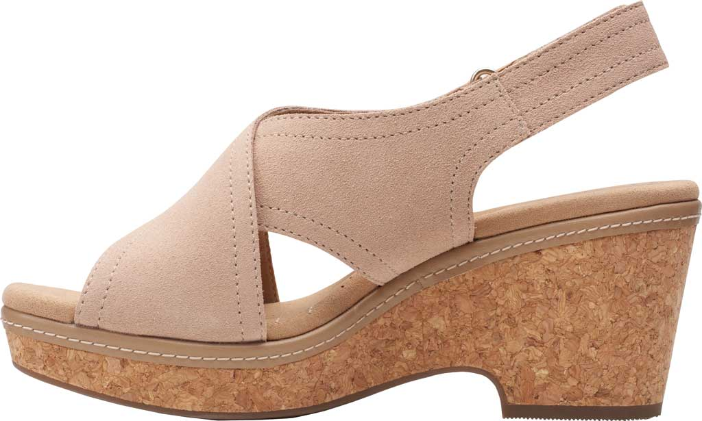 Women's Clarks Giselle Cove Wedge Slingback Sandal, Sand Suede, large, image 3