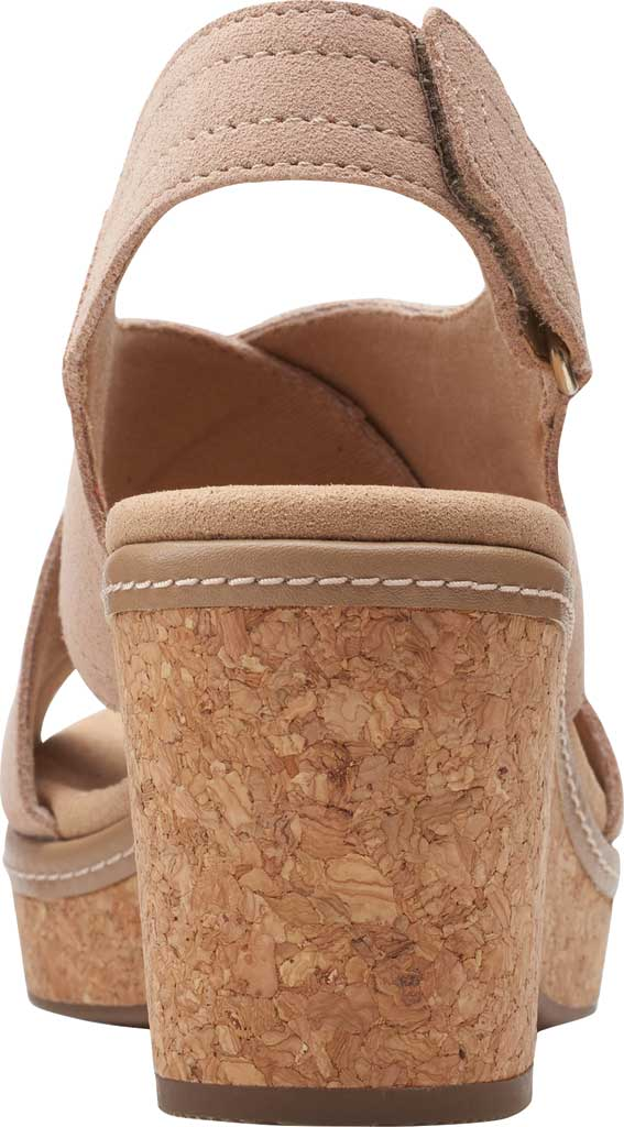 Women's Clarks Giselle Cove Wedge Slingback Sandal, Sand Suede, large, image 4
