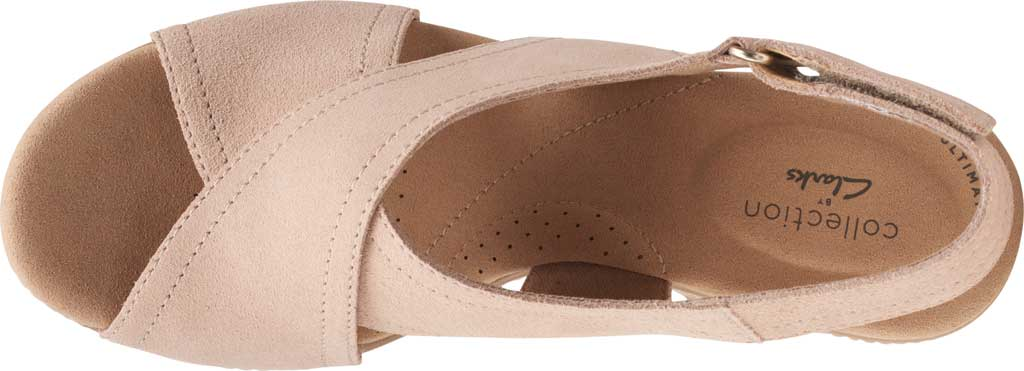 Women's Clarks Giselle Cove Wedge Slingback Sandal, Sand Suede, large, image 5