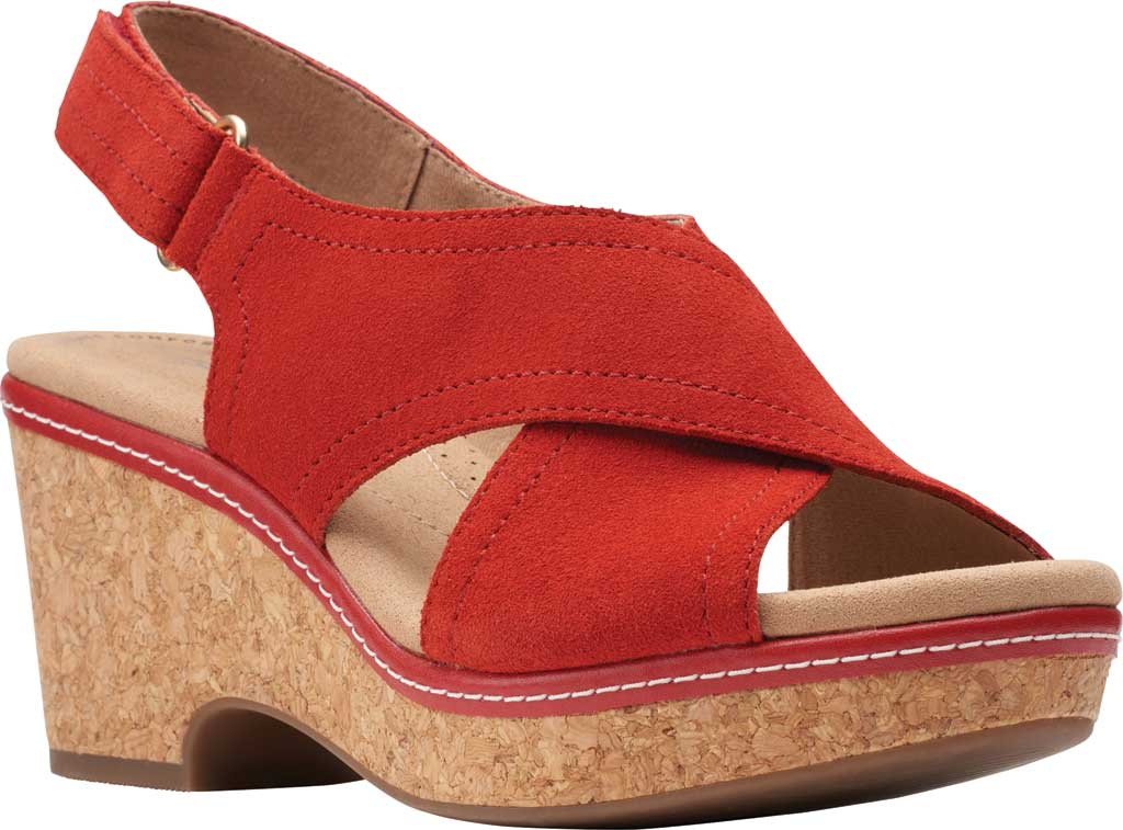 Women's Clarks Giselle Cove Wedge Slingback Sandal, Red Suede, large, image 1