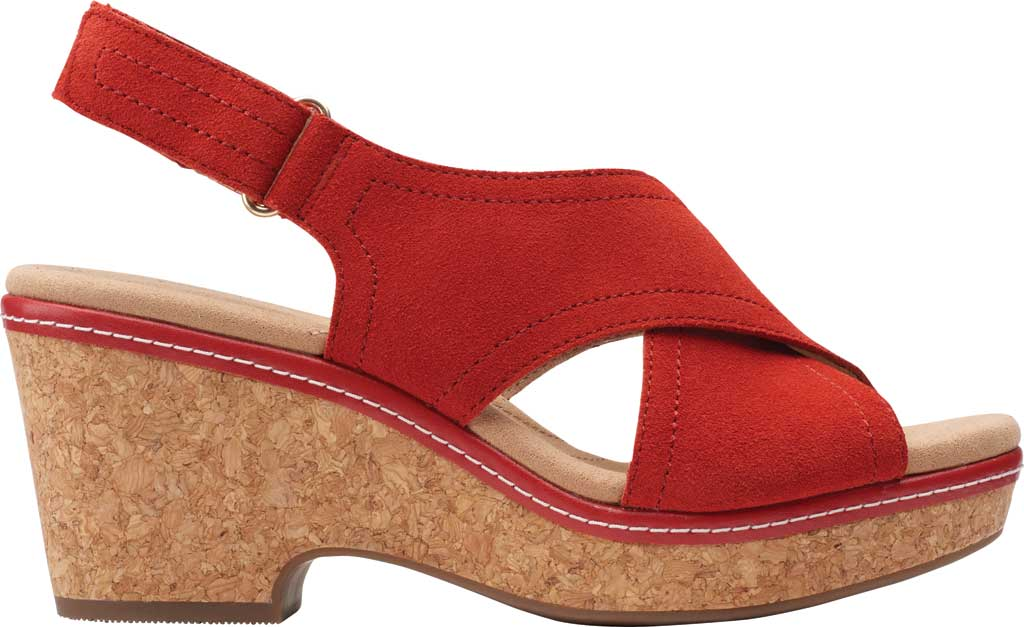 Women's Clarks Giselle Cove Wedge Slingback Sandal, Red Suede, large, image 2