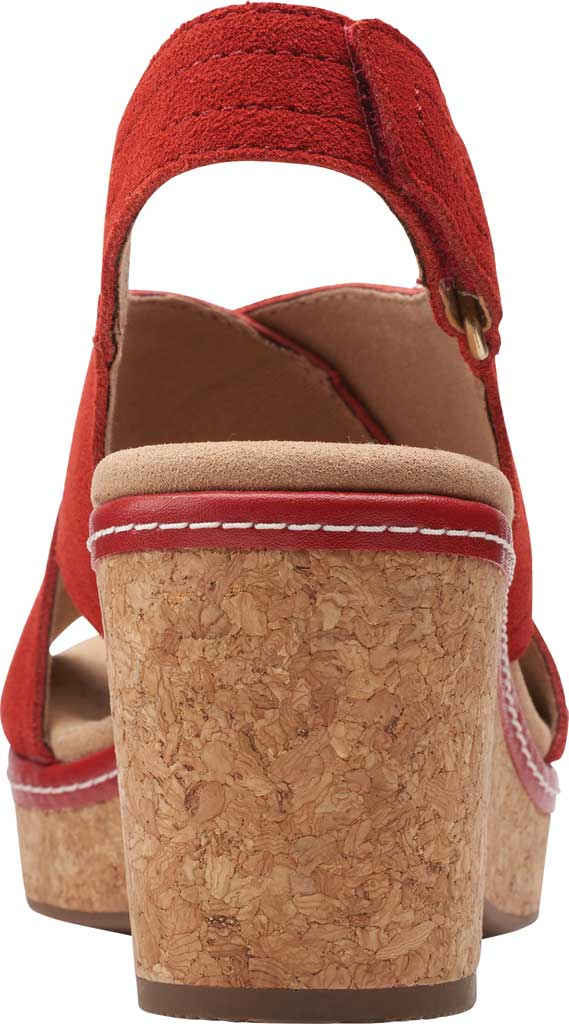 Women's Clarks Giselle Cove Wedge Slingback Sandal, Red Suede, large, image 4