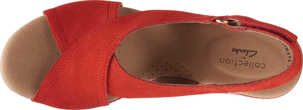 Women's Clarks Giselle Cove Wedge Slingback Sandal, Red Suede, large, image 5