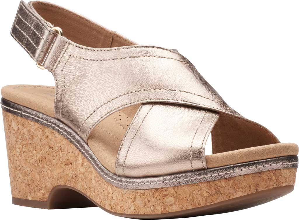 Women's Clarks Giselle Cove Wedge Slingback Sandal, Metallic Leather, large, image 1
