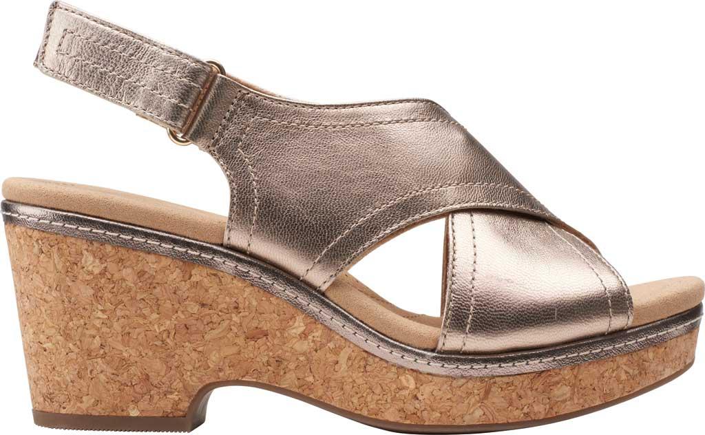 Women's Clarks Giselle Cove Wedge Slingback Sandal, Metallic Leather, large, image 2