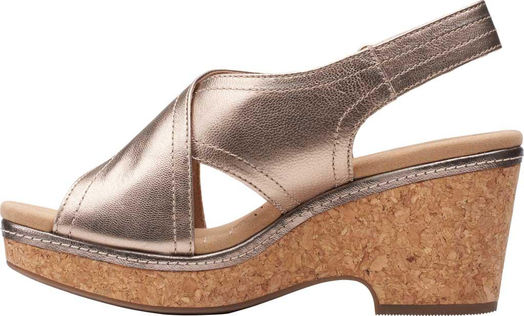 Women's Clarks Giselle Cove Wedge Slingback Sandal, Metallic Leather, large, image 3