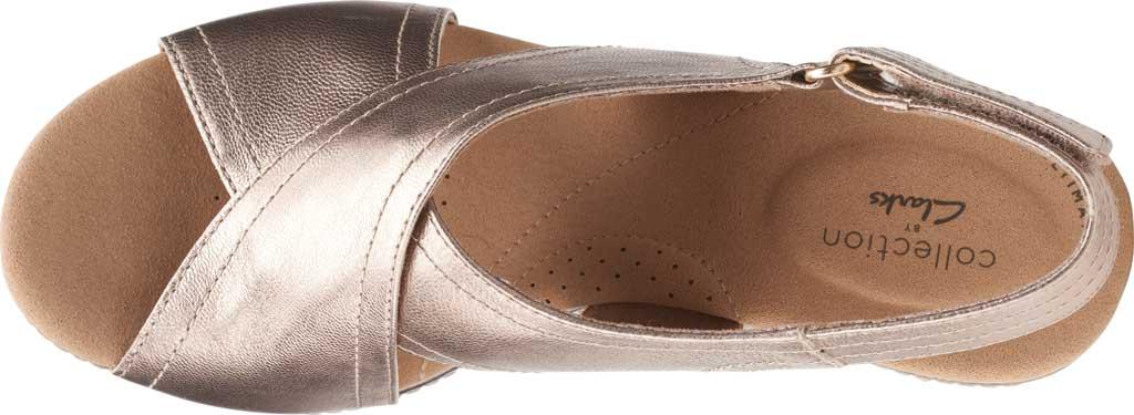 Women's Clarks Giselle Cove Wedge Slingback Sandal, Metallic Leather, large, image 5