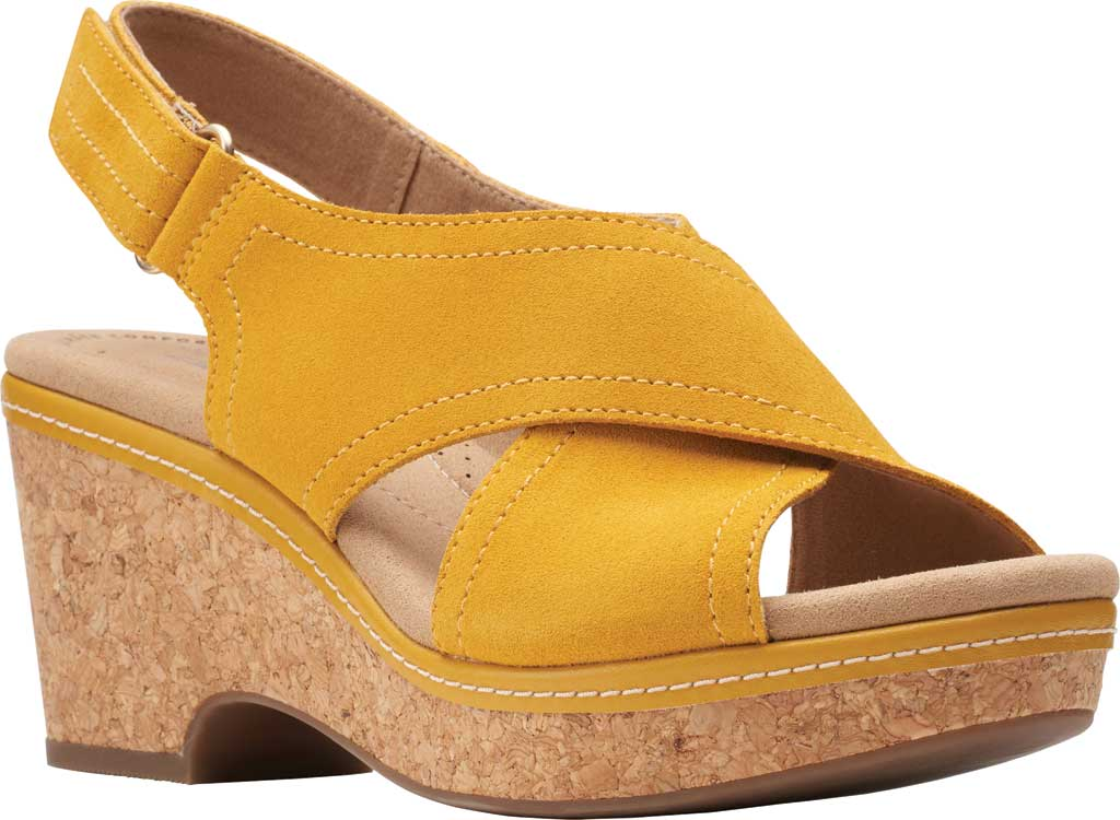 Women's Clarks Giselle Cove Wedge Slingback Sandal, Golden Yellow Suede, large, image 1
