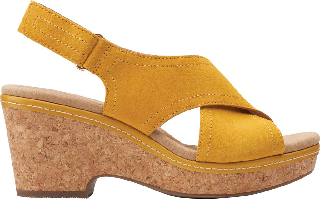 Women's Clarks Giselle Cove Wedge Slingback Sandal, Golden Yellow Suede, large, image 2